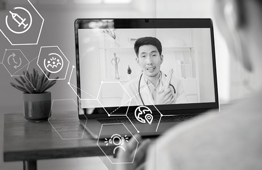 A patient consulting with a doctor via telehealth